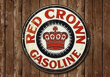 Red Crown Benzina Metallo Segno, Olio, Pubblicità, gas, VINTAGE, decorazioni per garage, 885