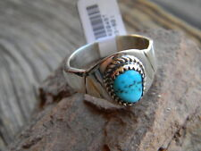 Magnificent sterling silver mens Navajo turquoise nugget ring size 11 1/2 or 12