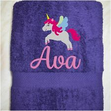 Personalised Swim Towel,Gym Towel,Kids Embroidered Bath Towel,Purple, Gift