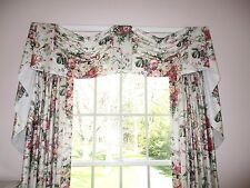 Custom Made Window Valance Draperies Cyrus Clark Pink Green Floral Chintz Fabric