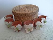 Set Of 6 Terra Cotta Flower Pot Napkin Rings With Straw Storage Container EUC