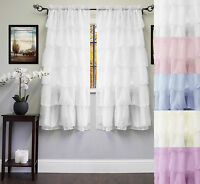 """Gypsy Crushed Voile Cascading Layers 60"""" x 63"""" Window Curtain Single Panel"""
