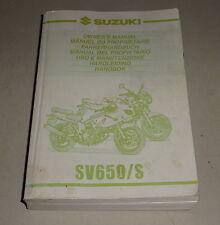 Betriebsanleitung / Handbuch / Owner´s Manual Suzuki SV 650 / S Stand 05/1999