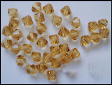 6mm Bicone CHAMPAGNE GOLD 50 A-Grade Crystal Glass Beads faceted