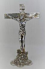 "ITALY DESIGN SILVER POLYRESIN 35CM /14"" JESUS ON CROSS"