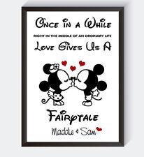 Personalised Mickey & Minnie Disney Engagement Print Boyfriend Girlfriend Gift