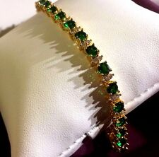 "GB Green 4mm emeralds & diamantes 7.2""  tennis bracelet 18k gold GF BOXD Plum UK"