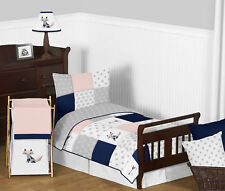 Sweet Jojo Navy Blue Grey Pink Fox Arrow Toddler Girls Kid Bedding Sheet Set