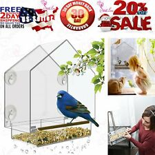 Window Bird Feeder - Large Bird House for Outside. Removable Sliding Tray with