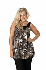 Polyester Animal Print Sleeveless Tunic Tops for Women