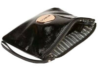 MIMCO Pouch Medium Black Patent Leather Wallet Clutch Bag BNWT Rosegold RRP$100