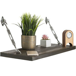 "Modern Floating Rustic Wood Shelf 24"" Floating Shelf with Turnbuckle Bracket"