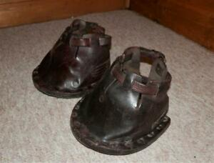 PAIR OF ANTIQUE HORSE DRAWN ENGLISH LEATHER HOOF FITTED LAWN MOWER BOOTS COB