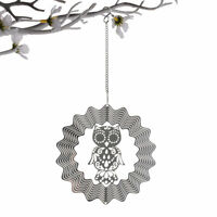 3D Wind Spinner Stainless Steel Owl Garden Decor Wind Chime Hanging Healing Gift