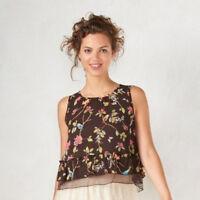 LC Lauren Conrad Womens Brown Floral Crop Top Disney Snow White Summer Sz XS NWT