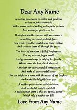 Green What Is A Mother Personalised Poem Certificate