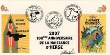 SUISSE 2007 FDC carte TINTIN HERGE Kuifje cachets GENEVE BULLE LAUSANNE strip 2