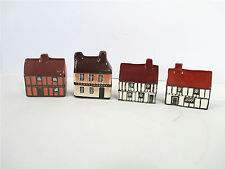 Mini Houses Tudor Ceramic Hand Painted England Set of 4 Diorama Train Fairyhouse