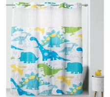 New~HOOKLESS Kids Dinosaur/Dino Shower Curtain w/liner & pockets~no hooks needed