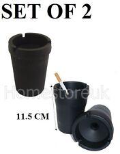 2 x CIGARETTE ASH  TRAY ASHTRAY BUTT BUCKET CAR CUP HOLDER OUTDOOR BLACK PLASTIC