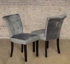 Pair of Grey Velvet Button Back Dining Chair Chrome Knocker and Studs Black Legs