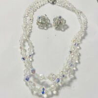 Vtg Austrian crystal aurora borealis graduated bead necklace and earrings
