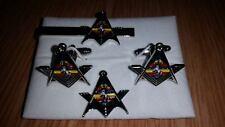 REME Square+ Compass Nickle Cufflink, Tieslide, lapel pin set, Masonic Craftsman