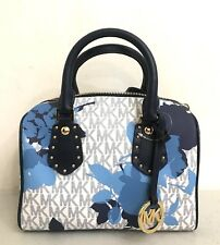 Michael Kors Aria Small Satchel MK Signature Navy Floral Purse