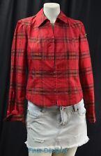 CWC Coldwater Creek Shirt Blouse zip red gold plaid silk taffeta mix PXS NEW