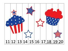 4th of July themed 11-20 Number Sequence Puzzle and Game Board.  Laminated Game.