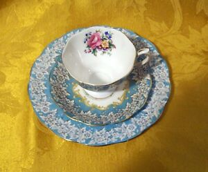 "Royal Albert ~ Bone China - ""Enchantment"" Tea Cup, Saucer and Bread Plate Set"