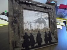 """COWBOY COUNTRY PICTURE FRAME HORSE WIRE FENCE DESIGN 5 1/2"""" X 3"""" PHOTO FRAME"""