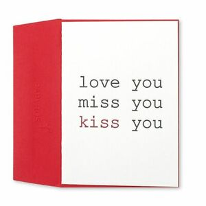 Papyrus Valentine's Day Card - Love You Miss You Kiss You Letterpress SIMPLE OOP