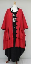 """PLUS SIZE RED 2 POCKETS A-LINE KNIT COAT/JACKET/CARDIGAN BUST UP TO 56"""" XL-XXL"""