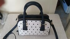 Merona Blue and White Polka dot non leather top zip, 3- section stylish handbag