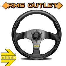 MOMO S/W TEAM BLACK LEATHER STREET STEERING WHEEL 300MM WITH FREE DELIVER