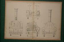 1855 LARGE LOCOMOTIVE PRINT ~ JOHN V. GOOCH'S ENGINE SNAKE SMOKE BOX TRANSVERSE