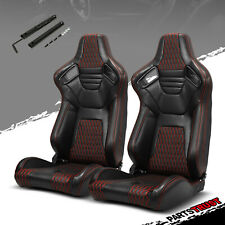 2 ×Universal PVC Main Black Leather Red Stitching Left/Right Racing Seats Slider