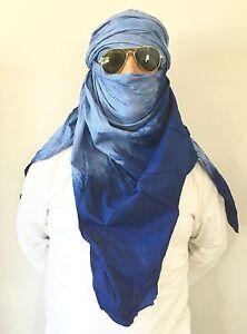 Long Tuareg Scarf - Moroccan Berber Handmade Ethnic Turban Unisex Adult Sky Blue