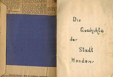 Ruth Kaiser, Geschichte der Stadt Menden, handschriftlich in Schulheft, 1940er J