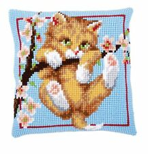 GATTINO in una struttura robusta Cross Stitch Cuscino ANTERIORE KIT 40x40cm Vervaco