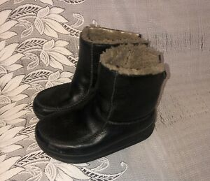 FITFLOP LEATHER PULL ON FUR LINED WINTER BOOTS - UK 5 /38