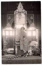1920s fashion RPPC arabic crest?display beautiful woman round glasses style #