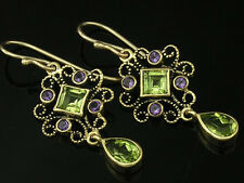 Exquisite Genuine 9ct Solid Yellow Gold Peridot & Amethyst Ornate Drop Earrings