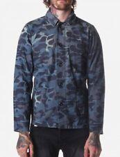 Denham Blue Сamo Over Shirt Jacket Sz L Large Button Down