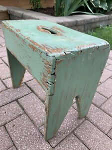 Vintage Primitive Wood Step Foot Stool Bench