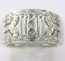 Diamond filigree ring 14K white gold round brilliants .30CT 7.5G sz 7.5 details!