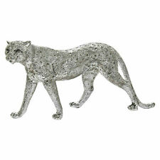Leonardo Silver Cheetah Leopard Animal Sculpture Ornament Decor Antique Figure