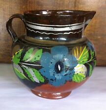 Vintage Hand Painted Red Clay Pitcher