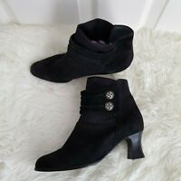 Marino Fabiani Italian Womens Black Suede Leather Ankle Boots Booties EU 37 UK 4